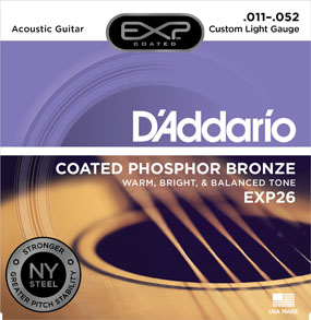 D'addario EXP26 11-52 Phosphor Bronze Strings - NY Steel